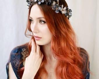 Woodland nymph crown, navy blue flower crown, renaissance crown, medieval hair wreath, floral circlet, hair vine headpiece, branch crown