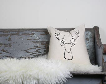 "18""x18"" Natural Colored Linen with Black Ink ""Deer"" Pillow Cover"