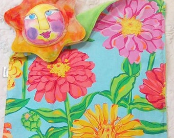 Flower Lovey Lovie Blanket - Lime Green Cuddle Smooth Minky - Valori Wells Zinnia - Gentle Rattle Sound - Comfort Snuggle Blanket