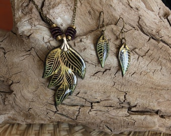 Leaf Necklace and Dangle Earrings Set // Polymer Clay Jewelry // One of a kind and Handmade