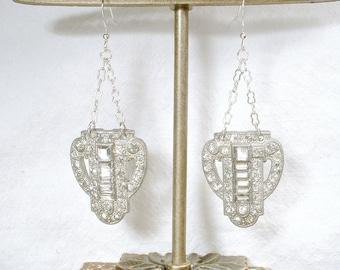OOAK 1930s Art Deco Earrings, Paste Rhinestone Dangle Bridal Earrings, Sterling Silver Vintage Wedding, Antique Dress Clip Long Statement