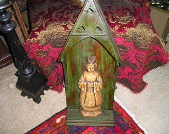 Vintage Religious Primitive Sculpted/Carved Virgin Mary/Gothic Wall Shrine Folk Art Niche/Nicho.