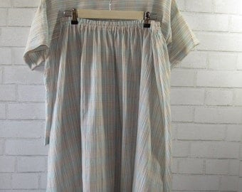 Vintage Pastel Breezy Blouse and Skirt, Medium, Large, XLarge