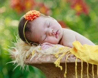 Small Tiny Mango Orange Pom Pom Flower with Skinny Sun Yellow Elastic Headband. Newborn to Adult. PHOTOGRAPHY PROPS