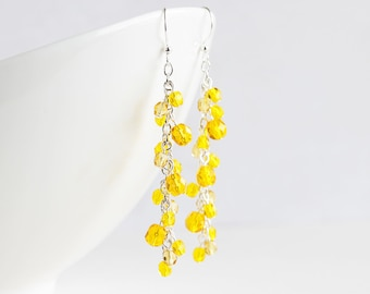 Sunflower Yellow Cascade Cluster Earrings on Silver Plated Hooks