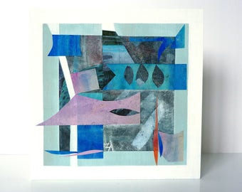"Abstract one-of-a-kind wall art, 6""x 6"", sailing, harbour, fishing boats,"
