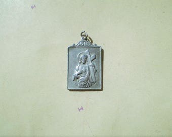 Petit Evangile du Saint Nom de Jesus - Vintage French Medal or Pendant - Jesus and the Sacred Heart - Metal - Catholic - Holy Charm