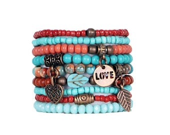 Beaded Bracelets Set of 9 Stretch Bracelets Bohemian Southwestern Themed Stack with Copper Tone Charms