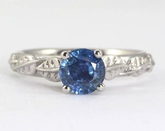 Engagement Ring, Natural Sapphire Ring, Leaves Engagement Ring, Leaf Sapphire Ring, Antique Natural Engagement Ring, Vintage Engagement Ring