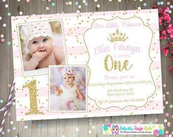 Pink and Gold 1st Birthday Invitation invite princess 1st birthday invitation invite princess birthday party photo picture DIY digital
