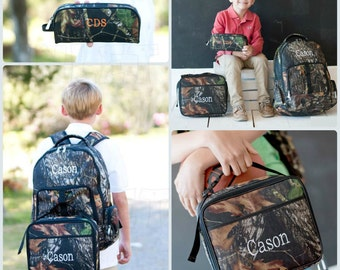 Boy Camoflage Backpack, Matching Lunchbox and Pencil Case can be purchased, Monogram Included