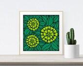 Green Floral Print Illust...