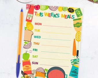 Printable Menu Weekly Food Planner Food Cooking Illustrations