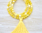 Yellow Tassel Necklace, Yellow Agate Gemstone Necklace, Long Yellow Stone Necklace, Yellow Fire Agate Beaded Necklace, Gifts for Her
