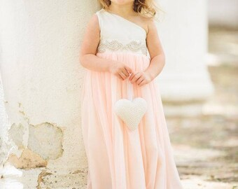 Ivory and Blush Flower Girl Dress, FREE SHIPPING, One Shoulder Dress, Rhinestone Sash, Custom Made in the USA by Mia Loren Boutique