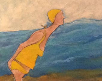 Figurative Swimmer Beach Ocean Contemporary Original Painting Free Shipping