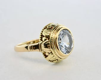 Art Deco 14k Yellow Gold Sky Blue Topaz Ring- Size 6.25
