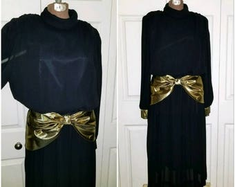 Belinda ....  Vintage 80s dress/ 20s drop waist flapper Downton Abbey Gatsby / party avant garde gold lame sash ruched ... M
