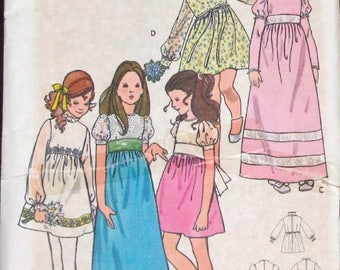 Vintage 1970s Sewing Pattern Butterick 6063 Empire Bodice Dress with Sleeve and Trim Option Prairie Maxi Gown Girls Size 6 Chest 25 Uncut FF