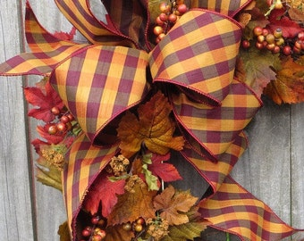 Fall Wreath Bow - Bow for Fall / Autumn Wreath/Decorations, Burgundy and Gold Fall Bow, Fall Wedding Bow, Asymmetrical Bow