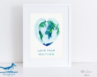Nursery Art World Map Heart - Personalized Baby Nursery Decor Gift for New Mom - Love Your Mother Map Art, Watercolor Wall Art for Kids Room