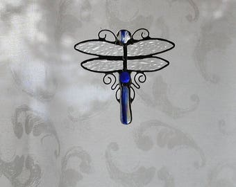 Dragonfly Stained Glass Suncatcher, Blue Decorative Dragonfly Wings, Home Decor, Handmade Dragonflies, Window Decor, Beach, Water, Gift Idea