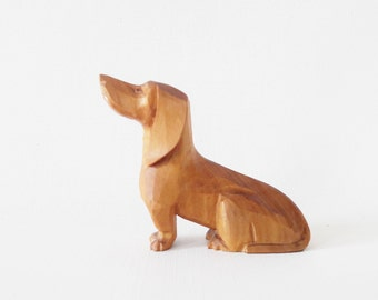 Mid Century Hand Carved Dachshund Dog