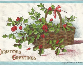 Basket of Holly and Berry Christmas Decoration Vintage Postcard Christmas Greetings