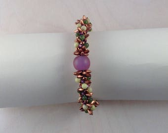 JADE, SERPENTINE and COPPER Beaded Bracelet with Fuchsia Lampwork Focal Bead