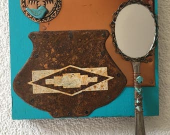 southwestern theme copper collage mirror,blue copper,recycled assemblage,wall art,entryway mirror,thunderbird,cabin decor,rustic,office art