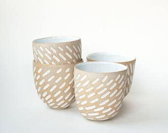 """set of 4 hand-carved ceramic cups / tumblers / mugs / raw clay with bright white glaze / line pattern // """"GROOVE"""""""