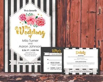 Vintage Watercolor Flowers Wedding Digital Invitation Suite