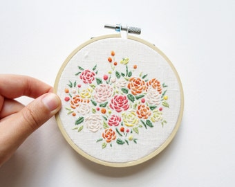 Matisse Peonies Bouquet - Embroidery Hoop Art - 4 inches wide