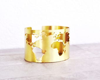 Travel Bracelet / Travel Gift / World Map Bracelet / Globe Bracelet / Cuff Bracelet / Travel Jewelry / Map Bracelet / Gift for women