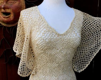 Vintage 1970's Crochet Top, Wing Sleeve Crochet Top, 70's Fashion, Vintage Dandyline, That 70's Show