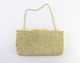 Gold and Crystal Encrusted Evening Bag - Vintage 1950s Metallic Clutch Purse