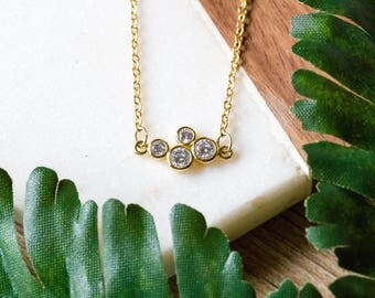 Dainty cz cluster minimalist necklace | Gold plated layering necklace | Gifts for her under 20 | Mother's day gift | Cubic zirconia |