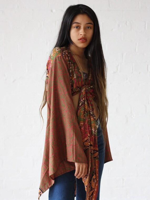 KIMONO TIE TOP - Bell sleeve crop top - Silk Tie Top - Vintage - Festival Top - Retro - 70s - Crop Top - Kimono - Paisley top - 100% Silk