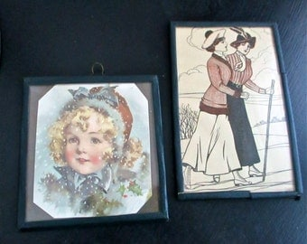 19th Century Framed Victorian Prints Rosy Cheeked Child and Sporting Women