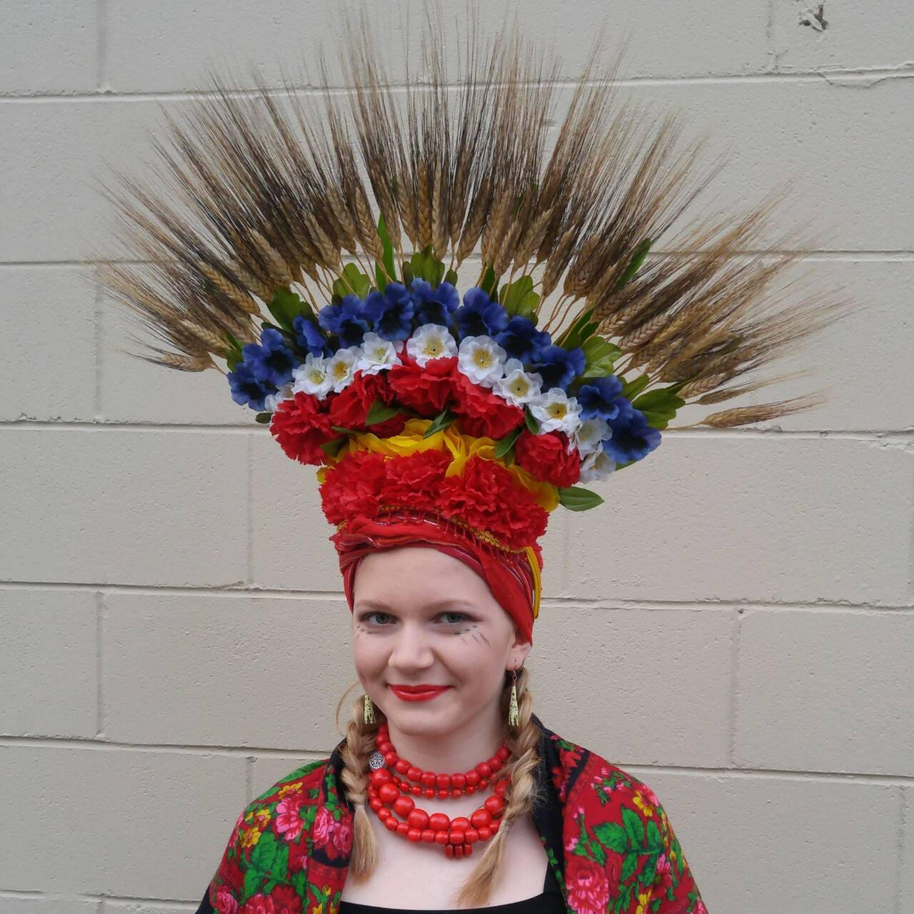 Ukrainian flower headress natural wheat with red white zoom dhlflorist Gallery