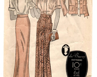 """1930's DuBarry Blouse, Slim Skirt and Jacket Pattern - Bust 34"""" - No. 878B"""