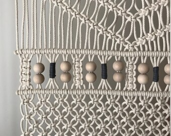 Macrame Wall Hanging, Forest with beads and leather