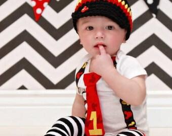 Mickey Mouse Inspired Birthday Tie and Suspender bodysuit w Mickey Button Newsboy Hat w Black White stripe Leg Warmers/ Baby Boy Birthday