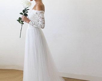 Off the shoulder lace wedding dress uke