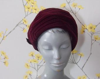 Vintage 60s Pillbox Hat Ladies Deep Burgundy Velvet Hat with Bow Deep Wine Colour Hat Mod Hat Stitching Design