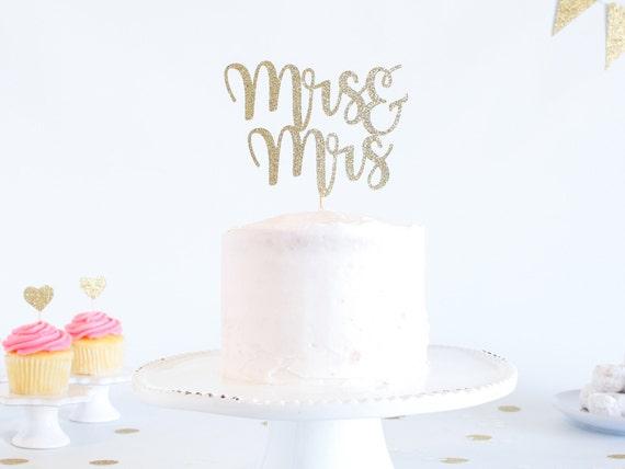 Mrs & Mrs Cake Topper - Glitter - Wedding Cake Topper. Engagement Party. Mrs and Mrs. Mrs and Mrs Cake Topper. Cake Toppers for Wedding.