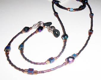 Boho Beaded Eyeglass Chain, Iris Blue Eyeglass Chain, BOHO Style Eyeglass Chain, Eyeglass Lanyards, Womens Acessories, EC16214