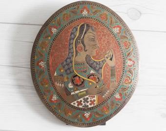 Vintage Brass Portrait India Souvenir