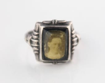 1930s sterling silver sweetheart photo ring, Uncas Manuacturing Co.  Size 7