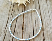 blue and white anklet surfing beach nautical cruise wear seed bead vacation anklet